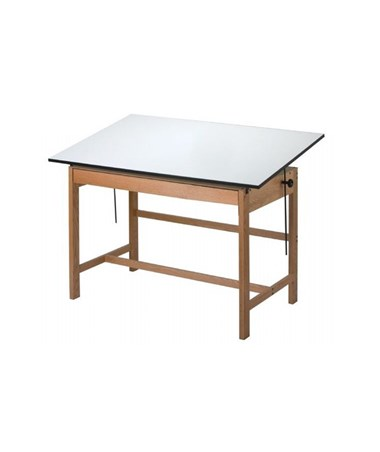 Alvin Titan Solid Oak Wood Drafting Table With Drawer WTB42