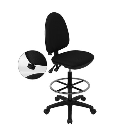 Flash Furniture Drafting Chair with Lumbar Support WL-A654MG-BK-D-GG
