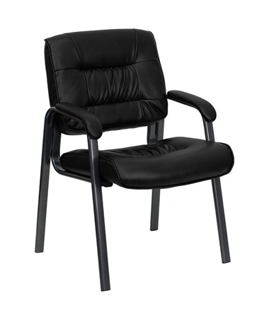 Black Leather Executive Side Chair with Titanium Frame Finish [BT-1404-BKGY-GG] FLFBT-1404-BKGY-GG