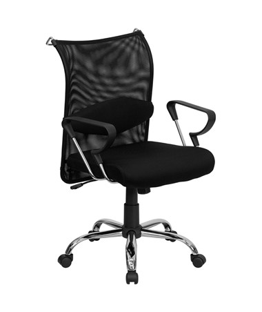 Mid-Back Manager's Chair with Black Mesh Back and Padded Mesh Seat [BT-2905-GG] FLFBT-2905-GG