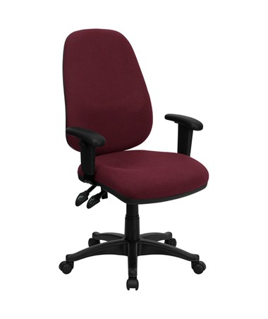High Back Burgundy Fabric Ergonomic Computer Chair with Height Adjustable Arms [BT-661-BY-GG] FLFBT-661-BY-GG