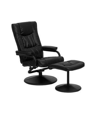 Contemporary Black Leather Recliner and Ottoman with Leather Wrapped Base [BT-7862-BK-GG] FLFBT-7862-BK-GG