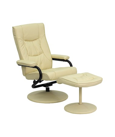 Contemporary Cream Leather Recliner and Ottoman with Leather Wrapped Base [BT-7862-CREAM-GG] FLFBT-7862-CREAM-GG
