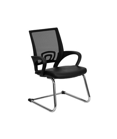 Black Leather Office Side Chair with Black Mesh Back and Sled Base [CP-D119A01-BK-GG] FLFCP-D119A01-BK-GG