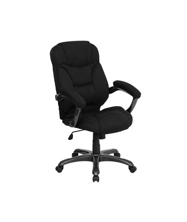 High Back Black Microfiber Upholstered Contemporary Office Chair [GO-725-BK-GG] FLFGO-725-BK-GG