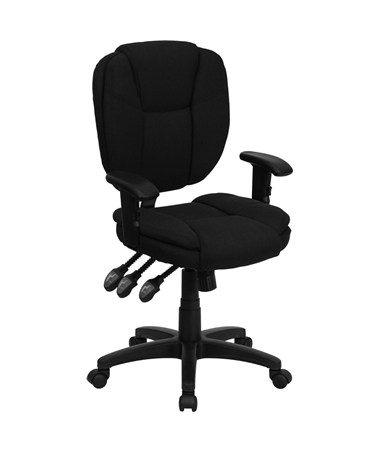 Mid-Back Black Fabric Multi-Functional Ergonomic Task Chair with Arms [GO-930F-BK-ARMS-GG] FLFGO-930F-BK-ARMS-GG