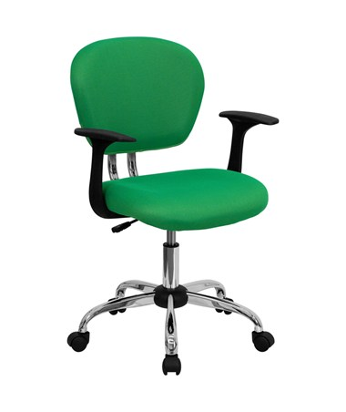 Mid-Back Bright Green Mesh Task Chair with Arms and Chrome Base [H-2376-F-BRGRN-ARMS-GG] FLFH-2376-F-BRGRN-ARMS-GG
