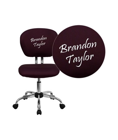 Embroidered Mid-Back Burgundy Mesh Task Chair with Chrome Base [H-2376-F-BY-EMB-GG] FLFH-2376-F-BY-EMB-GG