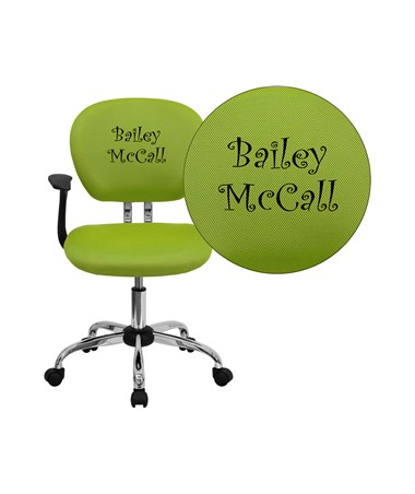 Embroidered Mid-Back Apple Green Mesh Task Chair with Arms and Chrome Base [H-2376-F-GN-ARMS-EMB-GG] FLFH-2376-F-GN-ARMS-EMB-GG