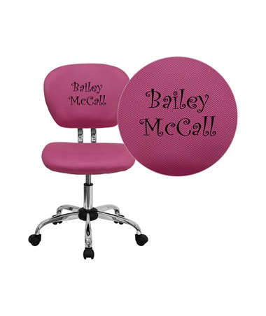 Embroidered Mid-Back Pink Mesh Task Chair with Chrome Base [H-2376-F-PINK-EMB-GG] FLFH-2376-F-PINK-EMB-GG