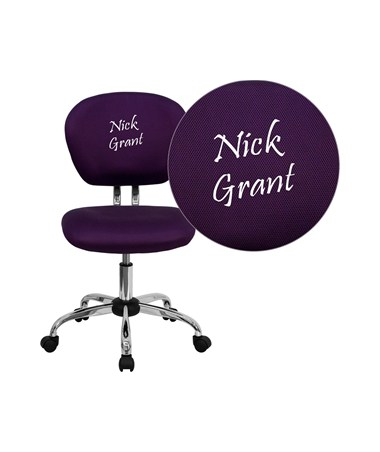 Embroidered Mid-Back Purple Mesh Task Chair with Chrome Base [H-2376-F-PUR-EMB-GG] FLFH-2376-F-PUR-EMB-GG