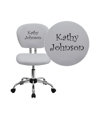 Embroidered Mid-Back White Mesh Task Chair with Chrome Base [H-2376-F-WHT-EMB-GG] FLFH-2376-F-WHT-EMB-GG