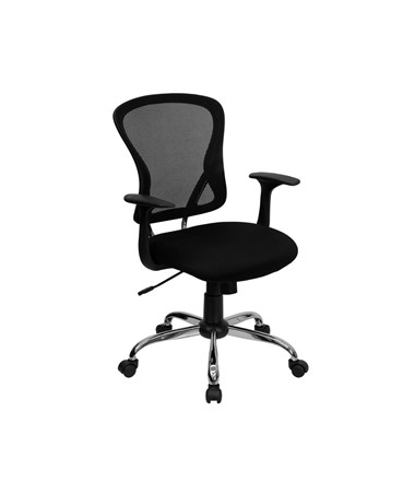 Mid-Back Black Mesh Office Chair with Chrome Finished Base [H-8369F-BLK-GG] FLFH-8369F-BLK-GG