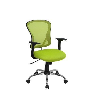 Mid-Back Green Mesh Office Chair with Chrome Finished Base [H-8369F-GN-GG] FLFH-8369F-GN-GG
