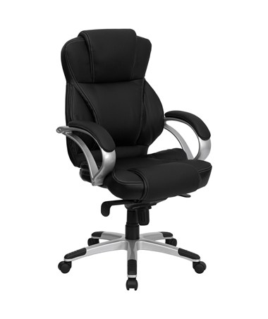 High Back Black Leather Contemporary Office Chair [H-9626L-2-GG] FLFH-9626L-2-GG