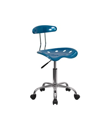 Vibrant Bright Blue and Chrome Computer Task Chair with Tractor Seat [LF-214-BRIGHTBLUE-GG] FLFLF-214-BRIGHTBLUE-GG