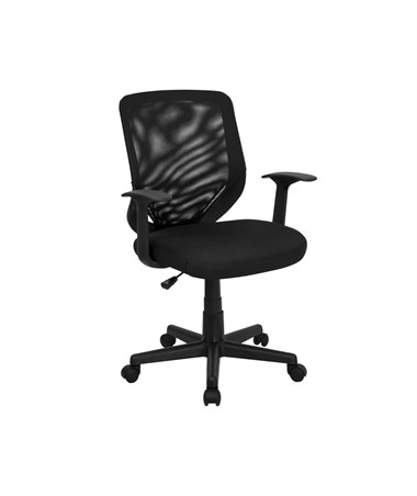 Mid-Back Black Mesh Office Chair with Mesh Fabric Seat [LF-W-95A-BK-GG] FLFLF-W-95A-BK-GG