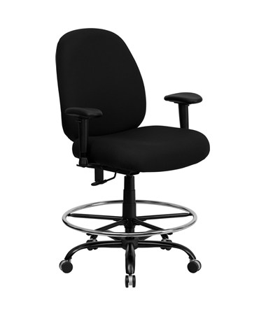 HERCULES Series 400 lb. Capacity Big and Tall Black Fabric Office Chair with Arms and Extra WIDE Seat [WL-715MG-BK-A-GG] FLFWL-715MG-BK-A-GG