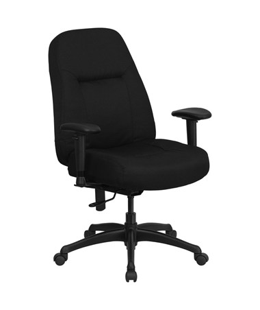 HERCULES Series 400 lb. Capacity High Back Big & Tall Black Fabric Office Chair with Height Adjustable Arms and Extra WIDE Seat [WL-726MG-BK-A-GG] FLFWL-726MG-BK-A-GG