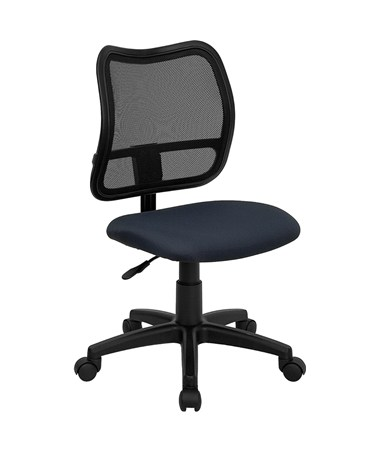 Mid-Back Mesh Task Chair with Navy Blue Fabric Seat [WL-A277-NVY-GG] FLFWL-A277-NVY-GG