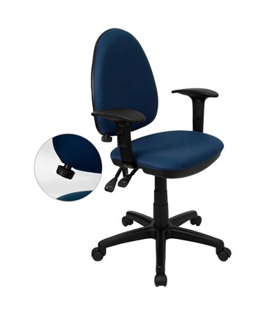 Mid-Back Navy Blue Fabric Multi-Functional Task Chair with Arms and Adjustable Lumbar Support [WL-A654MG-NVY-A-GG] FLFWL-A654MG-NVY-A-GG
