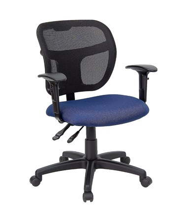 Mid-Back Mesh Task Chair with Navy Blue Fabric Seat and Arms [WL-A7671SYG-NVY-A-GG] FLFWL-A7671SYG-NVY-A-GG