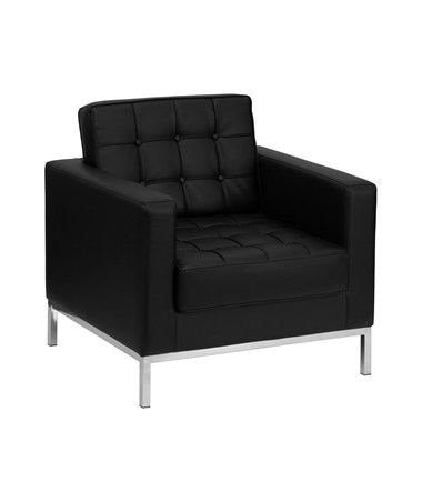 HERCULES Lacey Series Contemporary Black Leather Chair with Stainless Steel Frame [ZB-LACEY-831-2-CHAIR-BK-GG] FLFZB-LACEY-831-2-CHAIR-BK-GG