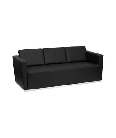 HERCULES Trinity Series Contemporary Black Leather Sofa with Stainless Steel Base [ZB-TRINITY-8094-SOFA-BK-GG] FLFZB-TRINITY-8094-SOFA-BK-GG