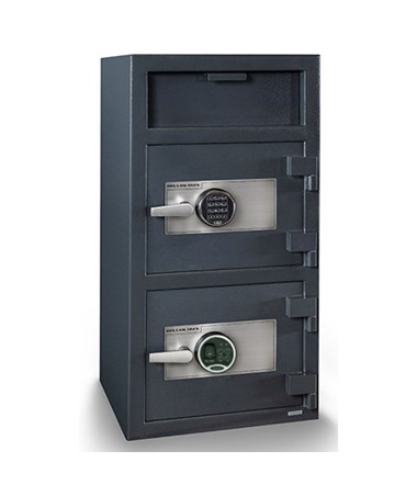 Hollon 40 x 20 Double Door B-Rated Depository Safe - S&G Spartan Electronic and Biometric Locks FDD-4020EE-BIO