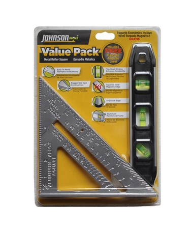Johnson Level Metal Rafter Square & Magnetic Torpedo Level Value Pack JOH1901-0000