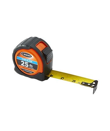 Keson 25 Feet Wide Blade Short Tape; Feet, Inches, 1/8, 1/16 with Orange Case PG1825WIDEV