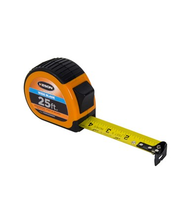 Keson 25 Feet Wide Blade Short Tape; Feet, Inches, 1/10, 1/100 & Feet, Inches, 1/8, 1/16 with Orange Case PG181025WIDEV