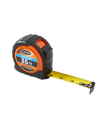 Keson 35 Feet Wide Blade Short Tape; Feet, Inches, 1/8, 1/16 with Orange Case PG1835WIDEV