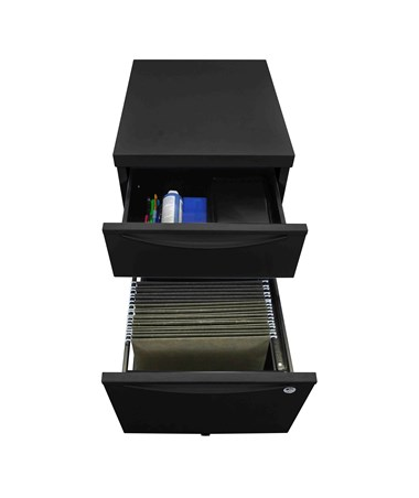 Luxor Mobile Pedestal File Cabinet Workstation Black KDPEDESTAL-BK