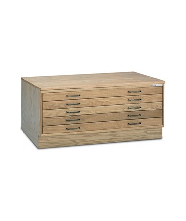 Mayline 5-Drawer Wood Plan File Unfinished with Optional Cap and Flush Base