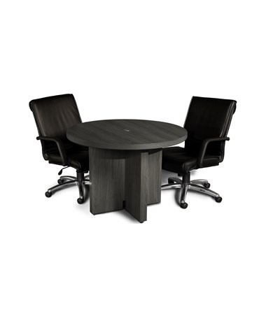 Mayline Aberdeen Series 42-Inch Round Conference Table with Chairs MAYACTR42 Gray Steel