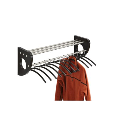 "SAFCO4212BL-Mode™ 36"" Wood Wall Coat Rack With Hangers Black SAF4212BL"