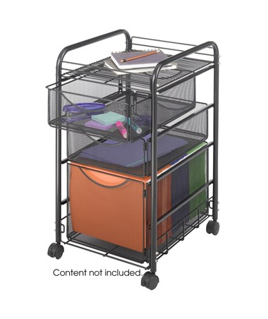 Safco Onyx Mesh File Cart with 1 File Drawer and 2 Small Drawers SAF5213BL