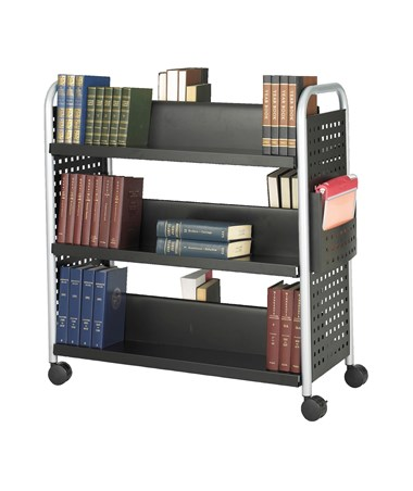 SAFCO5335BL-Scoot™ Double Sided 6 Shelf Book Cart Black SAF5335BL