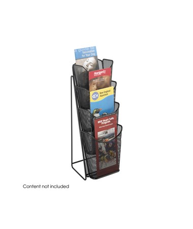 SAFCO5641BL-Onyx™ Mesh 4 Pocket Pamphlet Display Black SAF5641BL