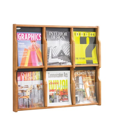 Safco Expose 6 Magazine 12 Pamphlet Display, Medium Oak SAF5703MO