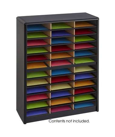 Safco Value Sorter Literature Organizer, 36 Compartment Black SAF7121BL