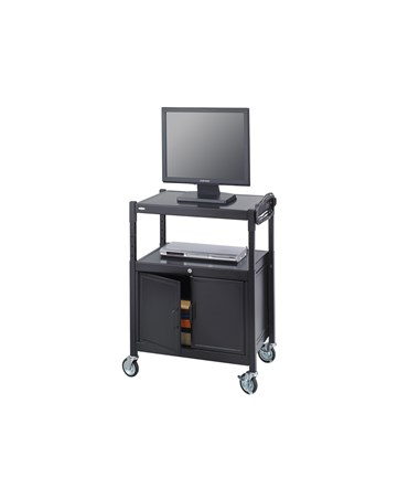 SAFCO8943BL-Steel Adjustable AV Cart With Cabinet Black SAF8943BL