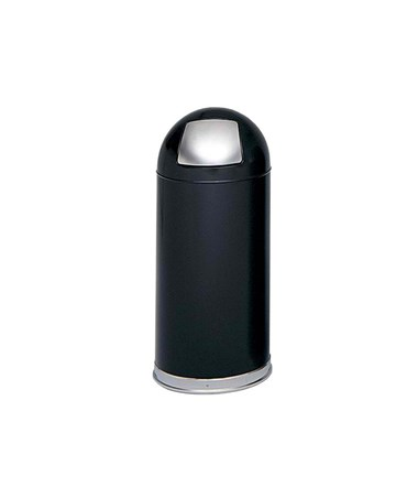 Safco Push Door Dome Top Receptacle, 15 Gallons SAF9636BL-
