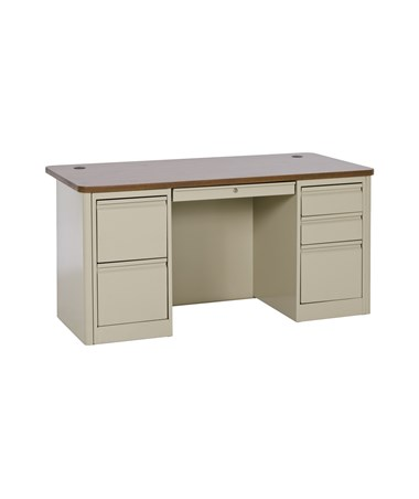 Double Pedestal - Putty with Medium Oak Top