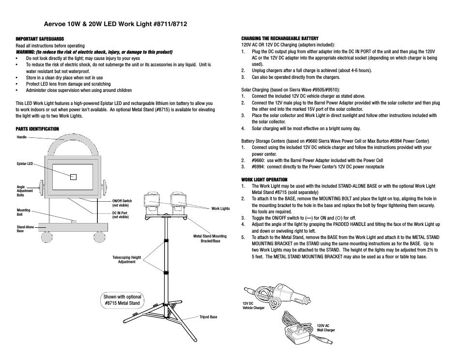 aervoe led work light aer8711-  item manual assembly ins