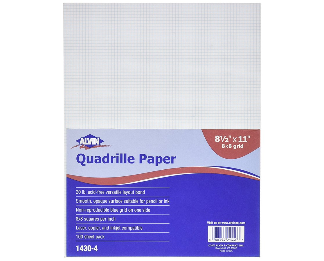 Alvin Quadrille Paper With 8 x 8 Grid (Qty. 100 Sheets) 1430-40