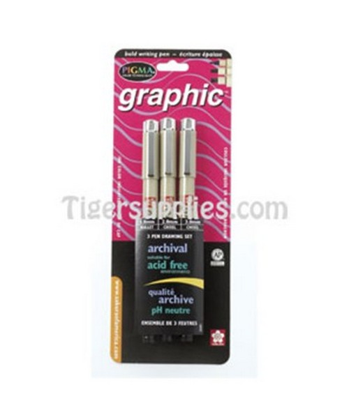 PEN GRAPHIC SET 1.0-3.0MM BLK 38881