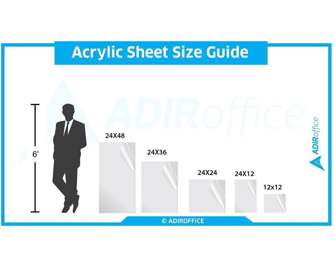 1//8 inch thick 3-Pack AdirOffice Clear Acrylic Plexiglass Sheet 24 in x 24 in