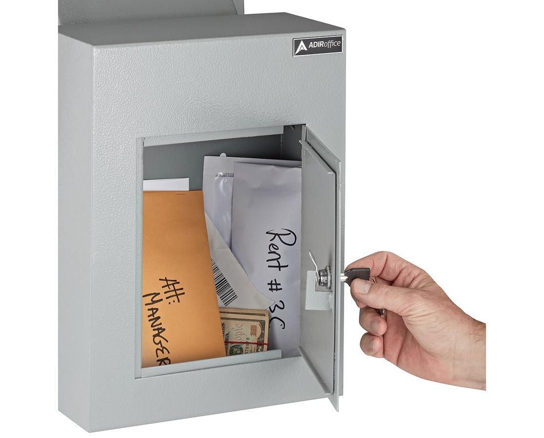 Adiroffice Black Through The Wall Mailbox Letter Drop Box